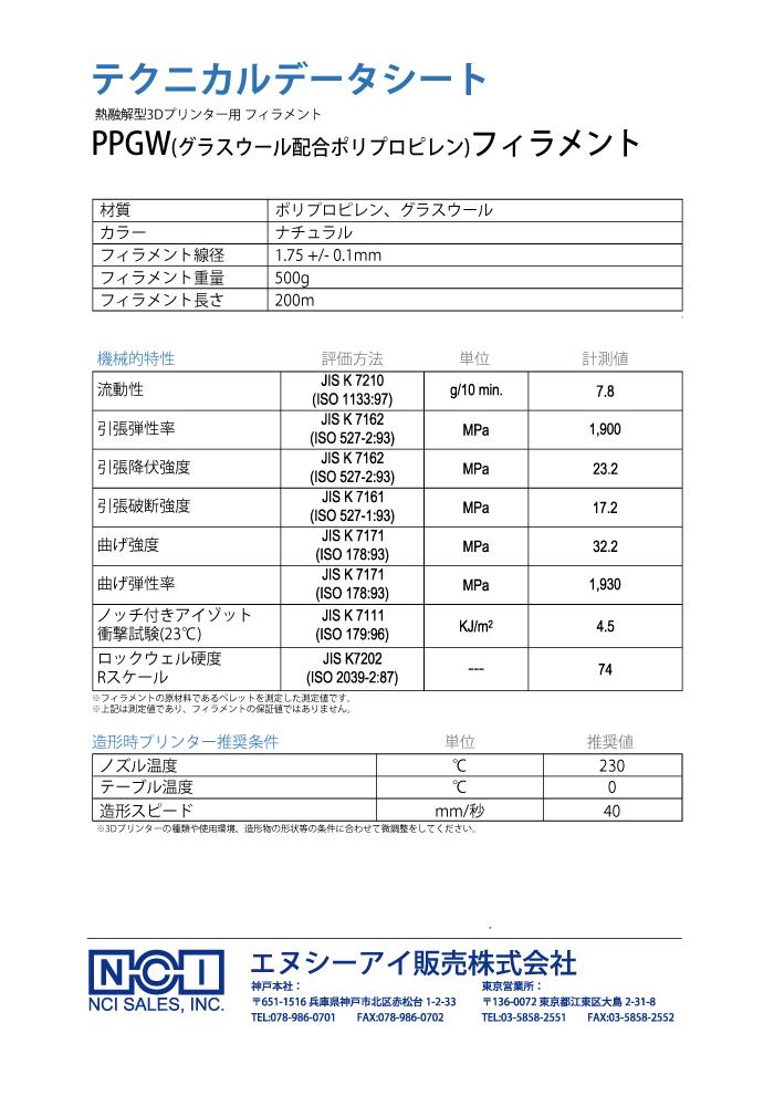 PPGWフィラメント 直径1.75mm ナチュラルのTDS