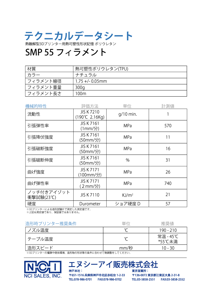 SMPフィラメントのTDS